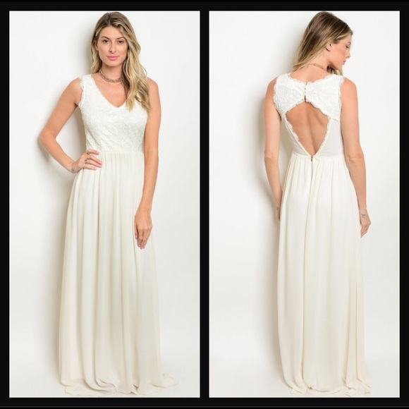 bfb557038 Soieblu Dresses | Ivory Crochet Backless Sleeveless Maxi Dress ...